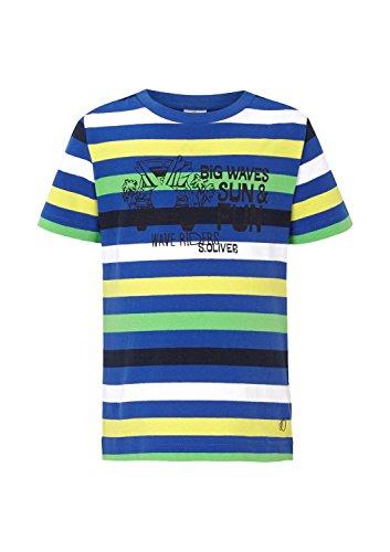 s.Oliver Jungen T-Shirt mit Streifen und Druck, Gestreift, Gr. 104 (Herstellergröße: 104/110), Mehrfarbig (blue stripes 55G1)