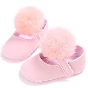 VENMO Newborn Baby Girl's Furry Pompom Soft Sole Anti-Slip Shoes 0~18 Month Pink