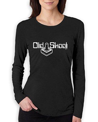 digi school 8 bit joystick retro video game high Quality very comfortable Frauen Langarm-T-Shirt Schwarz