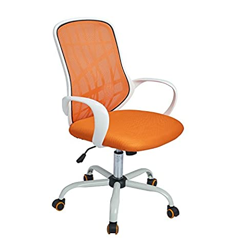 Aingoo Office Task Chair Mesh Swivel Tilt Computer Desk Chair Lumbar Support with Arms, White and