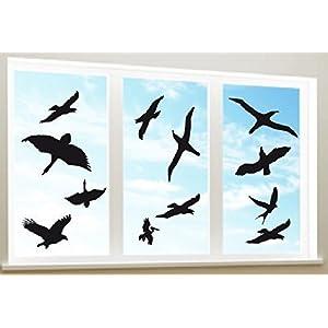 DD Dotzler Design - Warnvögel Vogelsilhouetten - 12 Stück - für ca 3 qm - Vogel Silhouette Fensterschutz Vogelschutz Vogeltod vermeiden
