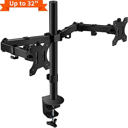 PUTORSEN Support de Bureau PC Moniteur pour 2 Écrans LCD LED de 13'-32' - Clamp Équipé, Charge...