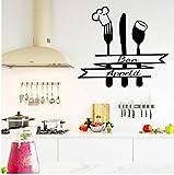 HHZDH Autoadesivo della Parete della Cucina Coltello Fai-da-Te E Forcella Rimovibile Adesivo Art Home Decor 43Cm X 48Cm