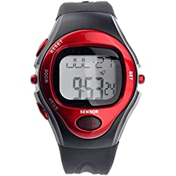 Pixnor R022M Waterproof Sports Pulse Rate Monitor Calorie Counter Digital Wrist Watch with Alarm /Calendar /Stopwatch (Red)
