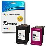 2 XL Compatibles HP 301XL Cartuchos de tinta para DeskJet 1000 1050 1050A 1050S 1055 2000 2050 2050A 2050S 2050se 2054A 2510 2540 3000 3010 3050 3050A 3050S 3050se 3050ve 3052A 3054A 3055A - Negro/Color, Alta Capacidad