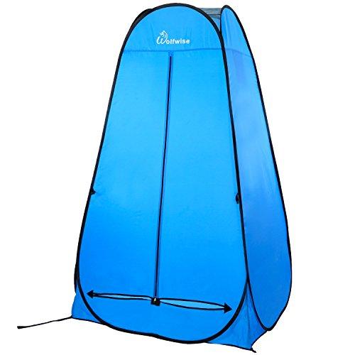 WolfWise Tente de Douche Toilette Pop Up Cabinet de Changement Tente Instantanée Portable Camping Abris de Plein Air Vestiaire Amovible Extérieure Intérieure - Bleu