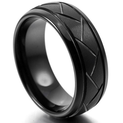 MunkiMix 8mm Wolframcarbid Wolfram Band Ring Schwarz Bequeme Passform Hochzeit Wedding Eheringe Engagement Verlobungsringe Verlobung Einzigartig Herren