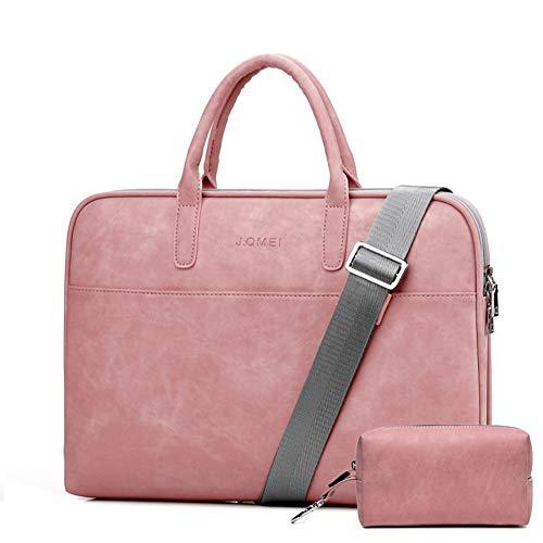 """LHJ 15,6""""Nylon-Laptop-Tasche Pu-hülle Mit Internem Plüschschutz Business Casual Schultergurt,Pink1,15.6inches"""