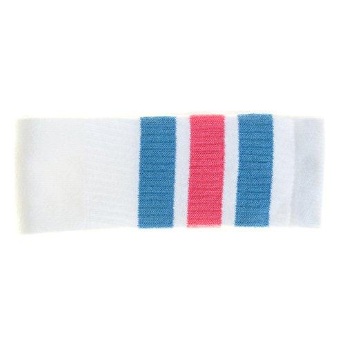 Choobes (Unisex) 22 Zoll Knie High White Tube Socken mit Baby Blue/Bubblegum Pink Stripes