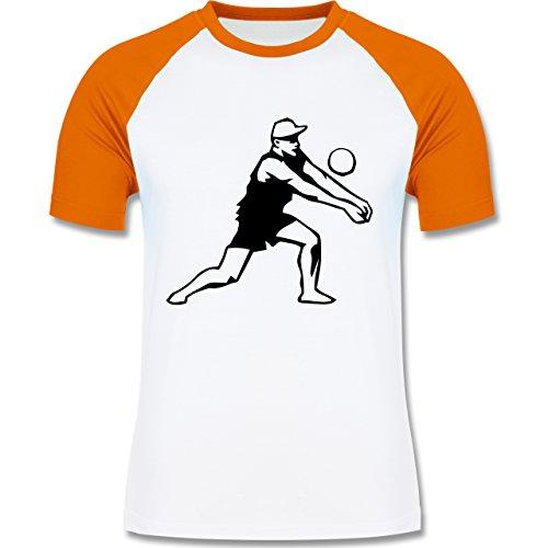Volleyball - Volleyball - zweifarbiges Baseballshirt für Männer Weiß/Orange