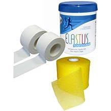 Elastus - Juego de 2 rollos de cinta adhesiva deportiva y 1 rollo de prevendaje deportivo (9,14 m x 3,8 cm y 27,5 m x 7 cm)