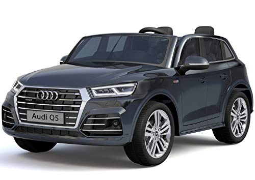 Babycar Auto für Kinder Audi Q5 S-Line 2 POSTI Reali Elektrische Elektrische Maschine 12 Volt 10 ah Akku mit Fernbedienung 2.4 GHz Kondiert Sitz Leder Monitor Touch Screen MP4 Schwarz