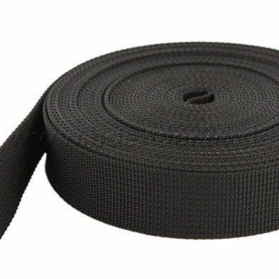 BAENDER24 10m PP Gurtband - 40mm breit - 1,8mm stark - schwarz (UV) -