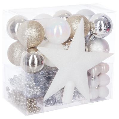 Lot déco Noël - Kit 44 pièces pour décoration sapin : Guirlandes, Boules et Cimier - Thème couleur : Blanc, Champagne & Argent.
