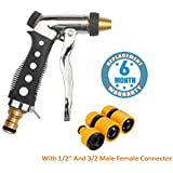 "Voroly High Pressure Car Garden and Plant Washer Water Nozzle Spray Gun with 1/2"" and 3/2"" Male Female Connector (Brass)"