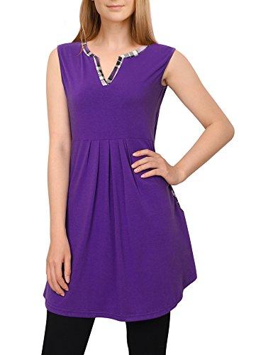 Tunika Shirt Damen,Youtalia Freizeit Mandarin Kragen Cool Schwingende Sommer Ärmellose Shirts Vest Top,Violett XXL