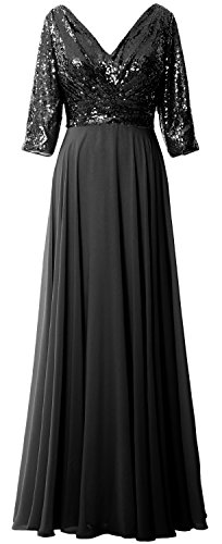 MACloth Women 3/4 Sleeve V Neck Mother Dress Sequin Chiffon Wedding Formal Gown Black