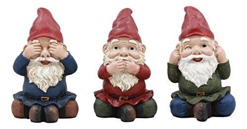 Ebros Figuren aus Zwerggfiguren mit Aufschrift See Laut hören, 10,2 cm hoch, 3 weise Zwerge (Feuerwehrmann-statuen)