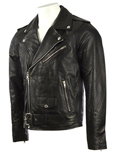 Herren Schwarz Gürtel Bikerjacke in echtem Rindsleder Leder oder super-weichen Schaffell-Leder MDK Schwarzes Schaffell Leder