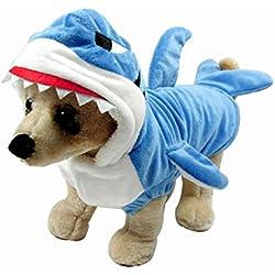 Disfraz de tiburón para niño perros gatos perritos Pet Cute suave y cálida Mono mascota pijama ropa