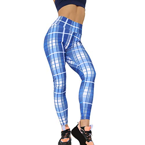 9dc92f63908a0a WOZOW Clearance Leggings Gamaschen Damen Plaid Muster Print Druck Long Lang  Jogger High Waist Dünn Skinny Strecken Casual Fitness Sporthosen Yoga  Workout ...