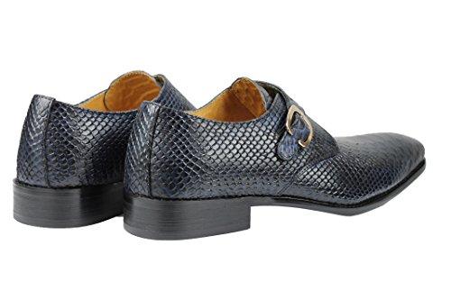 Pour Homme En Cuir Véritable Effet Peau De Crocodile Rouge Bleu moine Chaussures Antidérapant sur Smart Flâneur Bleu