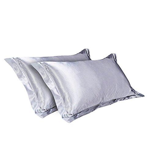CHRISLZ 2St Seide Kissenbezug Standard 50 * 75CM seidig weich & Falten frei reine Farbe Seide Kissenbezug ohne Reißverschluss (grau) -
