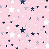 Sterne Rosa Blau 100% Baumwolle Baumwollstoff Kinderstoff Meterware Handwerken Nähen Stoff 100x160cm 1 Meter (Sterne Rosa Blau Weiß)