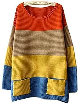 Suéter de Punto para Mujer Jersey de Cuello Redondo de Manga Larga-Gaorui