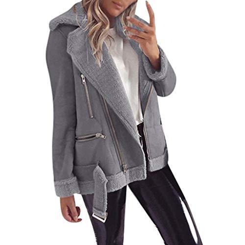 DOLDOA Damen Mantel, Cord Windbreaker Jacke Mantel Frauen beiläufigen Reißverschluss-Breiten Revers Vlies Lange Hülsen Reine Farben Jackenmantel (Cord-gefütterte Mantel)