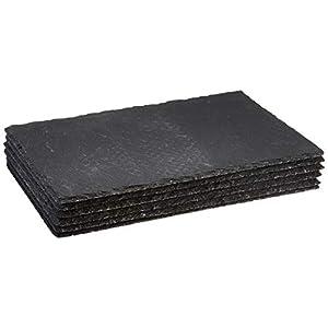 Sänger Servierplatten Set aus lasiertem Schiefer 6er Set – 20×30 cm – Unterseite der Schieferplatten mit 4 Gummifüßen…