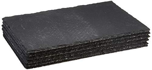 Sänger Servierplatten Set aus lasiertem Schiefer 6er Set - 20x30 cm - Unterseite der Schieferplatten mit 4 Gummifüßen zum Schutz der Oberflächen