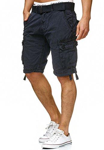 Indicode Herren Bolton Cargo Shorts Bermuda Kurze Hose inkl. Gürtel aus 100% Baumwolle Regular Fit Navy L Sportliche Hose