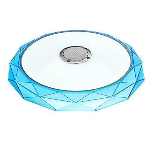GBYZHMH Moderne Smart Fernbedienung und APP Musik Deckenleuchten mit Bluetooth Lautsprecher & Farbenfrohe, moderne Deckenleuchte für Home Party (Farbe: Blau, Edition: 4 Dateien Musik ändern) (Strobe Light Bluetooth-lautsprecher)