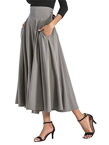 zoulouyou Rock Damen Hohe Taille Schöne Kleider Frauen Mode Einfarbig Rock Faltenrock Röcke Sommerröcke Rüschen Schnürsenkel Maxi Rock mit Gürtel -