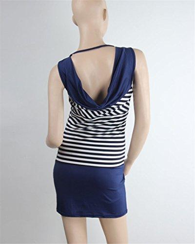 Saoirse Damen Sexy Anker Streifen Print Ärmellos Mini Kleid Blau