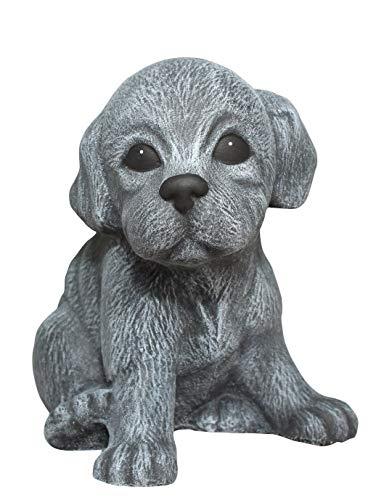 Steinfigur Welpe sitzend - Schiefergrau, Hund, Deko, Figur, Garten, frostsicher