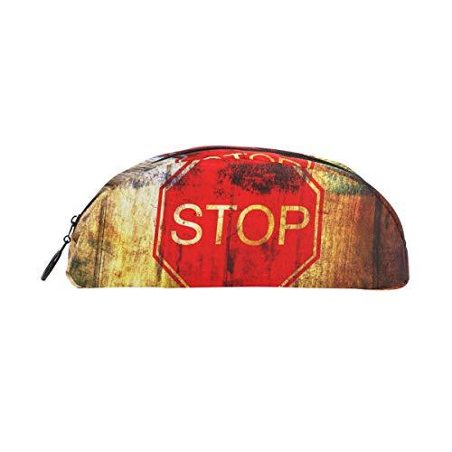 TIZORAX Stifteetui mit Stoppschild auf Grunge Holz Hintergrund Stifteetui für Teenager, Mädchen, Jungen, Kinder -