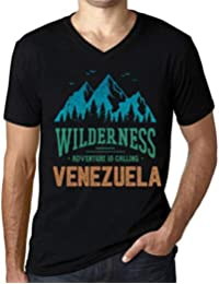 One in the City Hombre Camiseta Vintage Cuello V T-Shirt Gráfico Wilderness Venezuela Negro