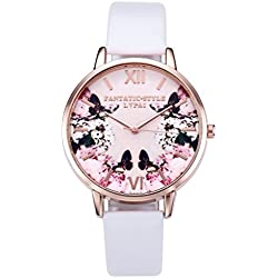JSDDE Fashion Women Girls Watches Pink Butterfly Non Scale Rose Gold Case With PU Leather Strap - White