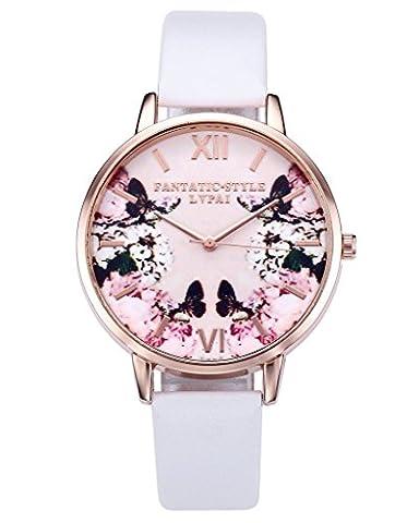 JSDDE Uhren,Modische Schmetterling Blumen Armbanduhr Basel-Stil Damen Uhr PU Lederband Rosegold Analog