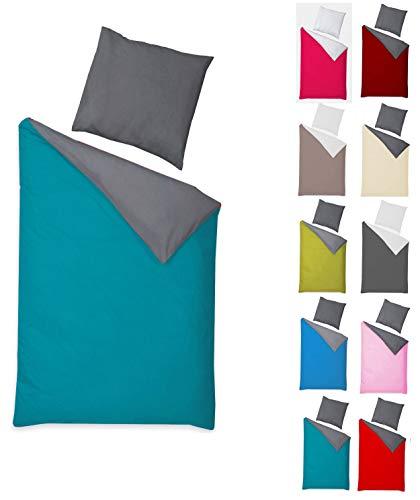 Naturawalk Renforcé Bettwäsche 100% BIO Baumwolle in 6 modernen Farbkombinationen mit Reissverschluss, 135x200 + 80x80 cm - Grösse 2 tlg. 135x200cm, 80x80 cm, Farbe Anthrazit/Petrol (Bio-bettwäsche)