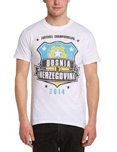 Football Fan Herren T-Shirt World Cup Football 2014 Bosnia & Hertzegovina Shield Mens T-shirt Weiß - Weiß