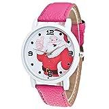 Lucky mall Frauen Glasspiegel Uhr, Weihnachtsmann Muster Lederband