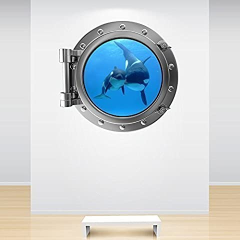 Full Colour Silver Orca Whale Mother and Baby Porthole Wall Sticker Under the Sea Ocean Wall Decal