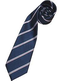 Herren 100% Seide Krawatte - Marineblau mit Weiß, Rot und Blau Streifen