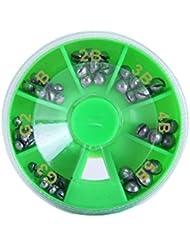 V-BLUE 49 PCS Kits De Plomo En La Caja Verde Plastica Plomo Ovalado Señuelo Peso De Plomo De Pesca Tamaño 7