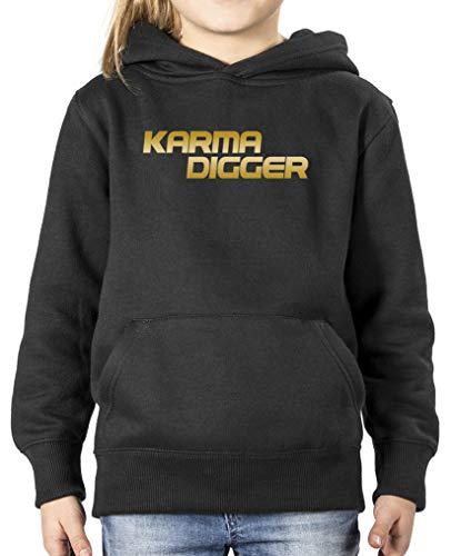 Comedy Shirts - Karma Digger - Mädchen Hoodie - Schwarz/Gold Gr. 152/164 Damen Gold Digger