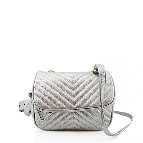 LeahWard Damen Gürteltasche Niedliche Gesteppte Schultertaschen Handtaschen für Party Urlaub 0463 (Silber) - Chloe Hobo