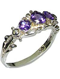 925 Sterling Silver Natural Amethyst Womens Trilogy Ring